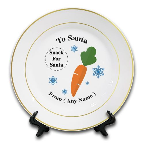 "8"" Personalised (Any Text) christmas To Santa Snack Novelty Ceramic Gold rim Plate & Stand"